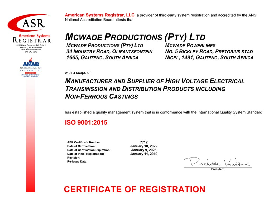 McWade Productions ISO 9001-2015 Certificate